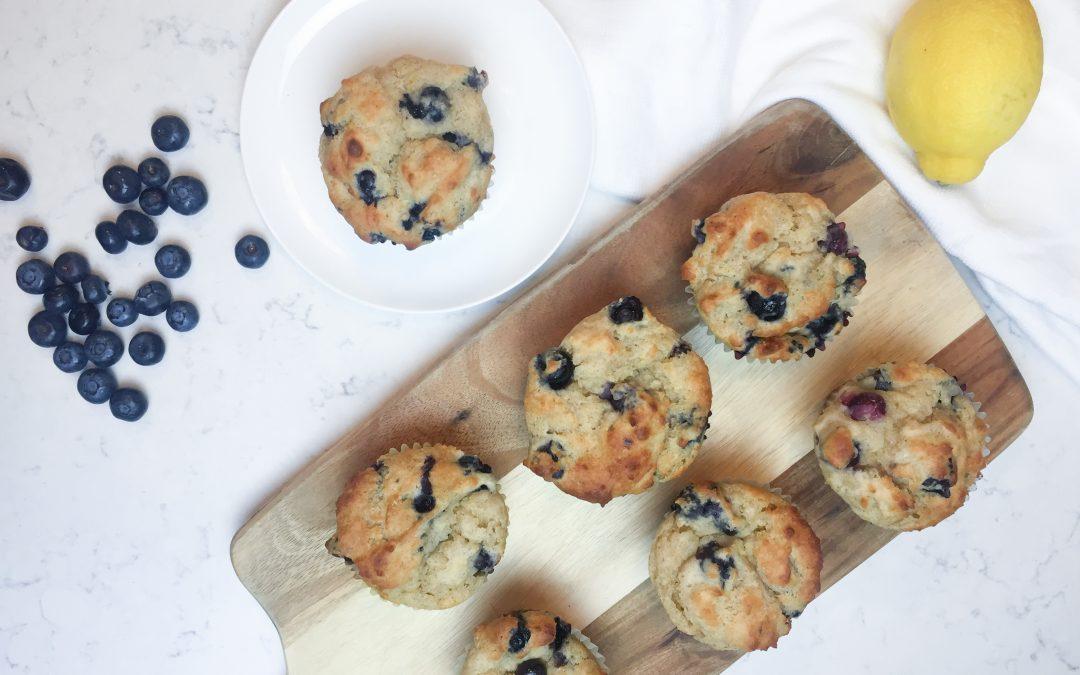 Healthier Blueberry  Lemon Greek Yogurt Muffins