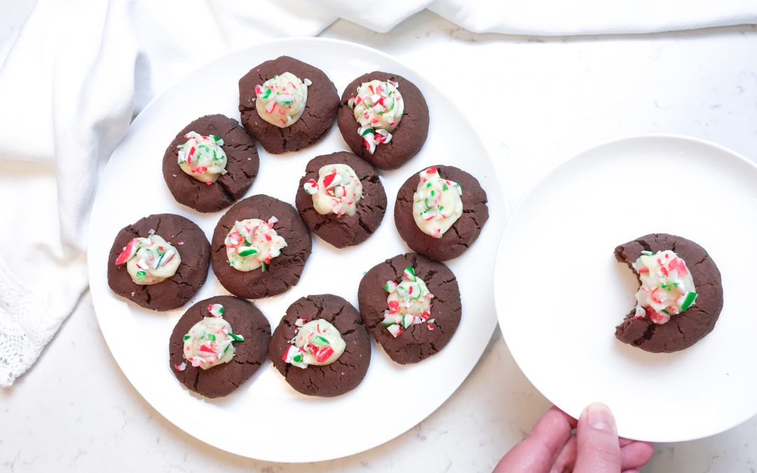 Gluten-Free Christmas Chocolate Thumbprint Cookies